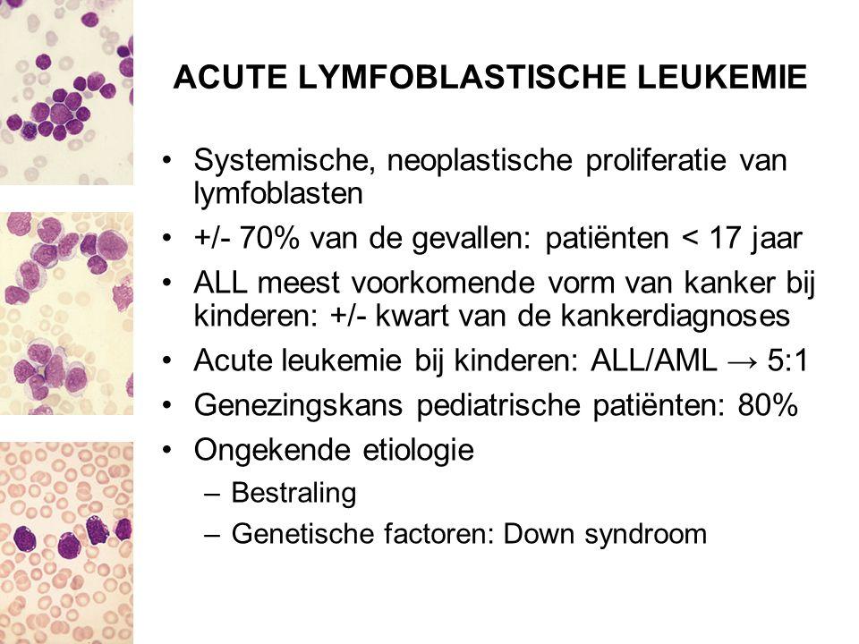 ACUTE LYMFOBLASTISCHE LEUKEMIE Systemische, neoplastische proliferatie van lymfoblasten +/- 70% van de gevallen: patiënten < 17 jaar ALL meest voorkom