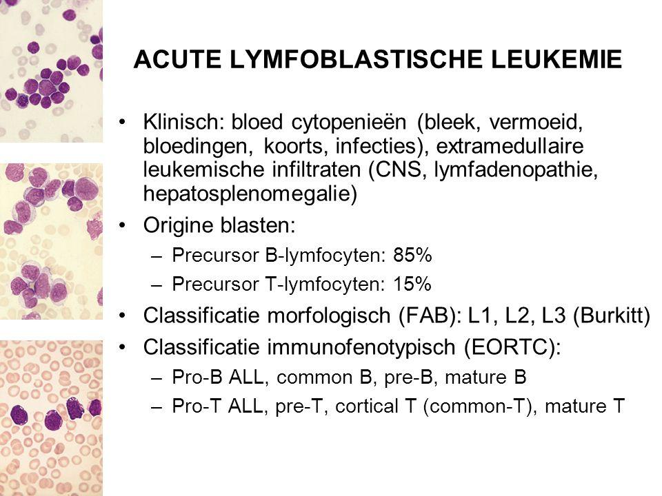 ACUTE LYMFOBLASTISCHE LEUKEMIE Klinisch: bloed cytopenieën (bleek, vermoeid, bloedingen, koorts, infecties), extramedullaire leukemische infiltraten (
