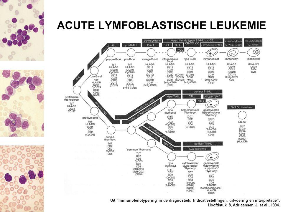 """ACUTE LYMFOBLASTISCHE LEUKEMIE Uit """"Immunofenotypering in de diagnostiek: Indicatiestellingen, uitvoering en interpretatie"""", Hoofdstuk 8, Adriaansen J"""
