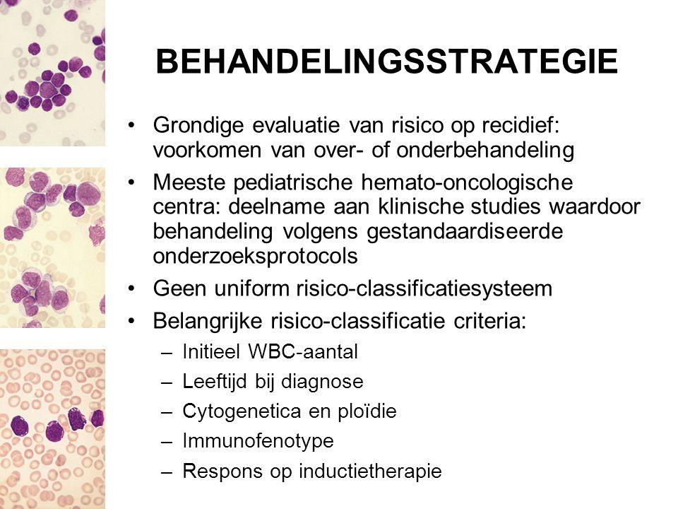 BEHANDELINGSSTRATEGIE Grondige evaluatie van risico op recidief: voorkomen van over- of onderbehandeling Meeste pediatrische hemato-oncologische centr