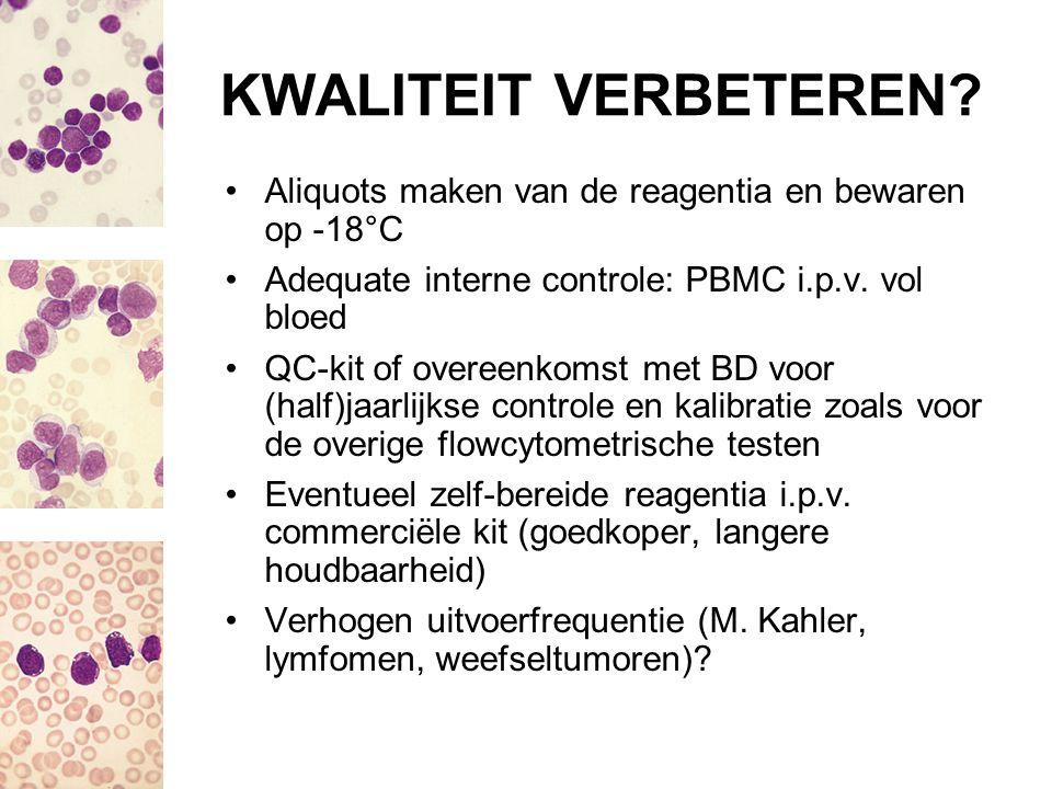 KWALITEIT VERBETEREN? Aliquots maken van de reagentia en bewaren op -18°C Adequate interne controle: PBMC i.p.v. vol bloed QC-kit of overeenkomst met