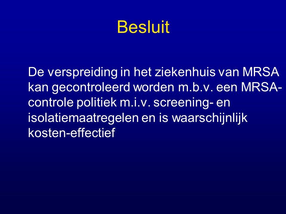 Besluit De verspreiding in het ziekenhuis van MRSA kan gecontroleerd worden m.b.v. een MRSA- controle politiek m.i.v. screening- en isolatiemaatregele