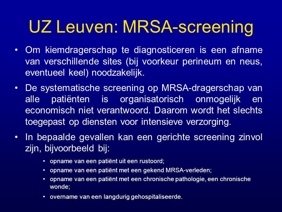 UZ Leuven: MRSA-screening Om kiemdragerschap te diagnosticeren is een afname van verschillende sites (bij voorkeur perineum en neus, eventueel keel) n