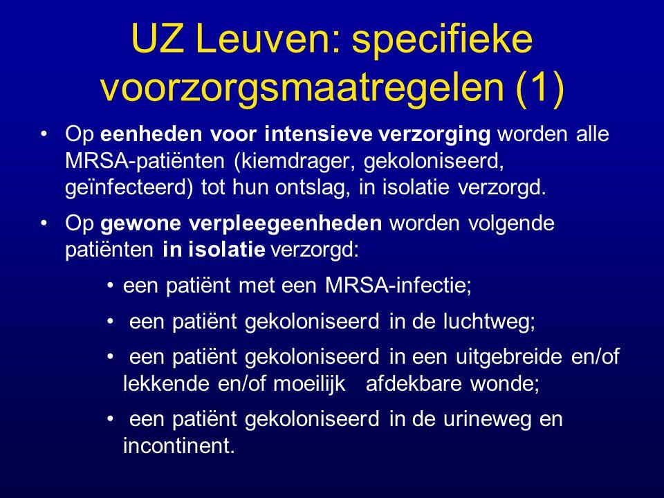 UZ Leuven: specifieke voorzorgsmaatregelen (1) Op eenheden voor intensieve verzorging worden alle MRSA-patiënten (kiemdrager, gekoloniseerd, geïnfecte