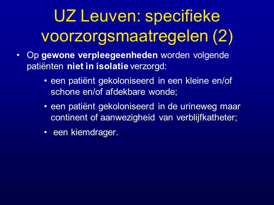 UZ Leuven: specifieke voorzorgsmaatregelen (2) Op gewone verpleegeenheden worden volgende patiënten niet in isolatie verzorgd: een patiënt gekolonisee