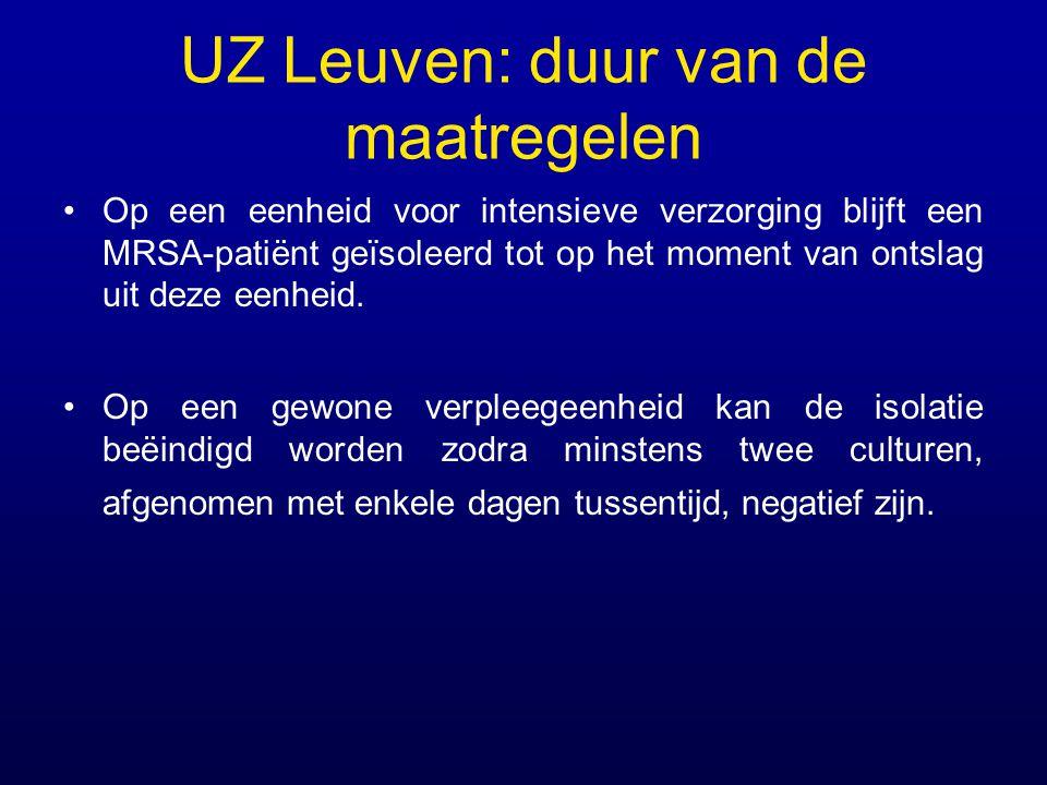 UZ Leuven: duur van de maatregelen Op een eenheid voor intensieve verzorging blijft een MRSA-patiënt geïsoleerd tot op het moment van ontslag uit deze