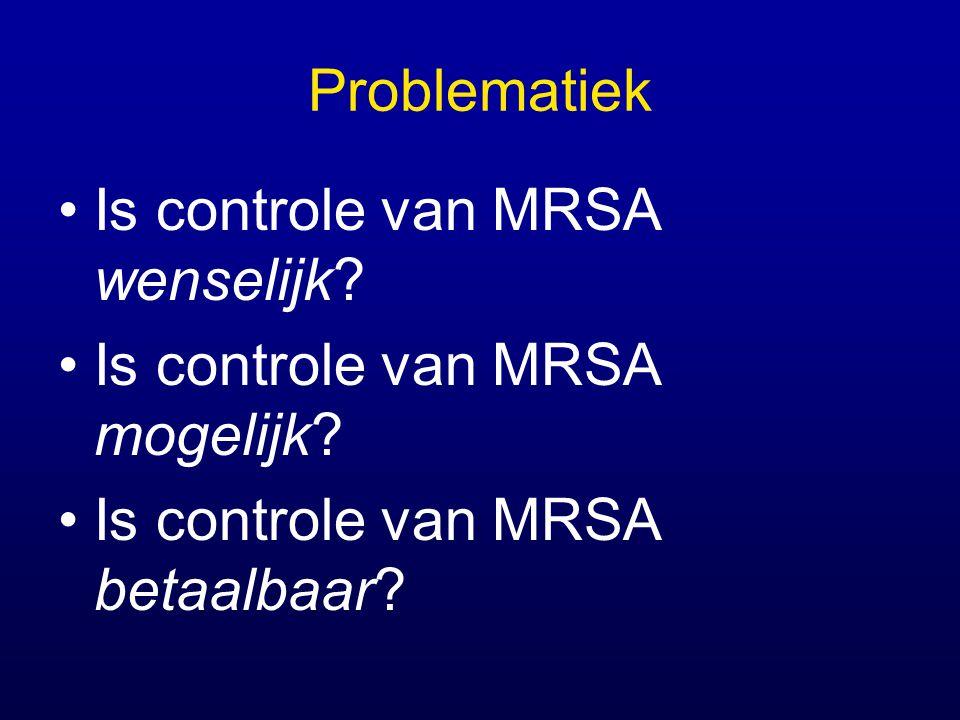 Problematiek Is controle van MRSA wenselijk? Is controle van MRSA mogelijk? Is controle van MRSA betaalbaar?