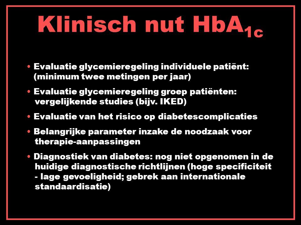 Klinisch nut HbA 1c Evaluatie glycemieregeling individuele patiënt: (minimum twee metingen per jaar) Evaluatie glycemieregeling groep patiënten: vergelijkende studies (bijv.