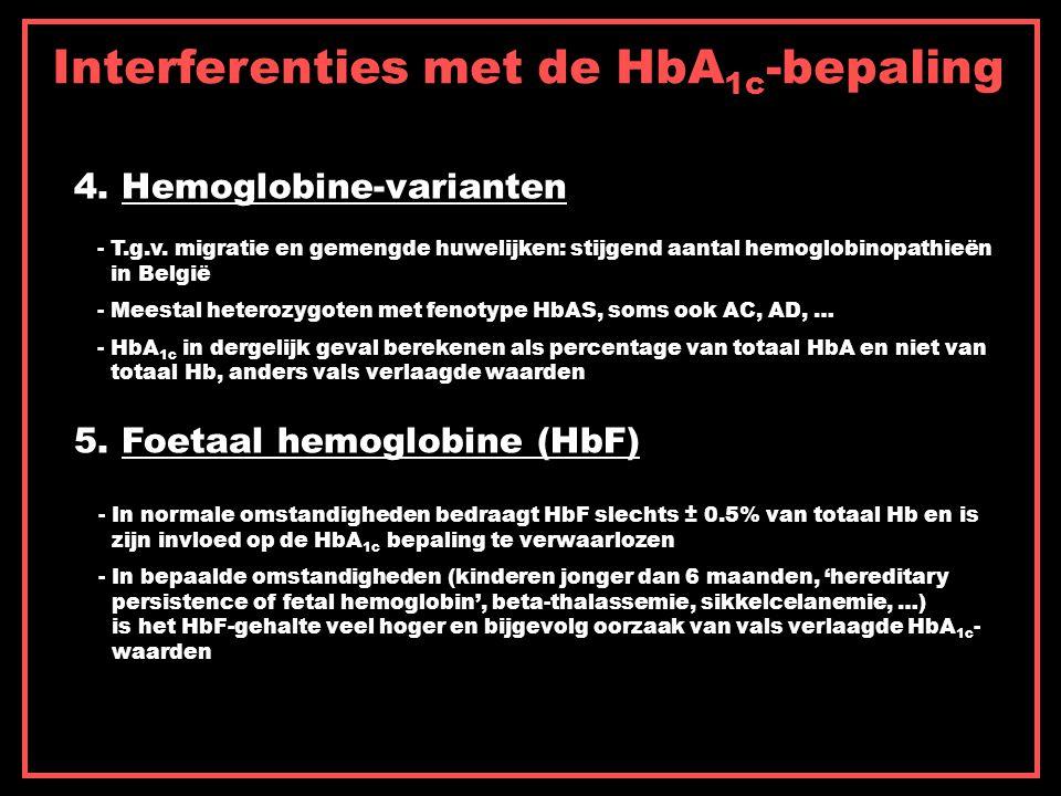 Interferenties met de HbA 1c -bepaling 4. Hemoglobine-varianten 5. Foetaal hemoglobine (HbF) - T.g.v. migratie en gemengde huwelijken: stijgend aantal