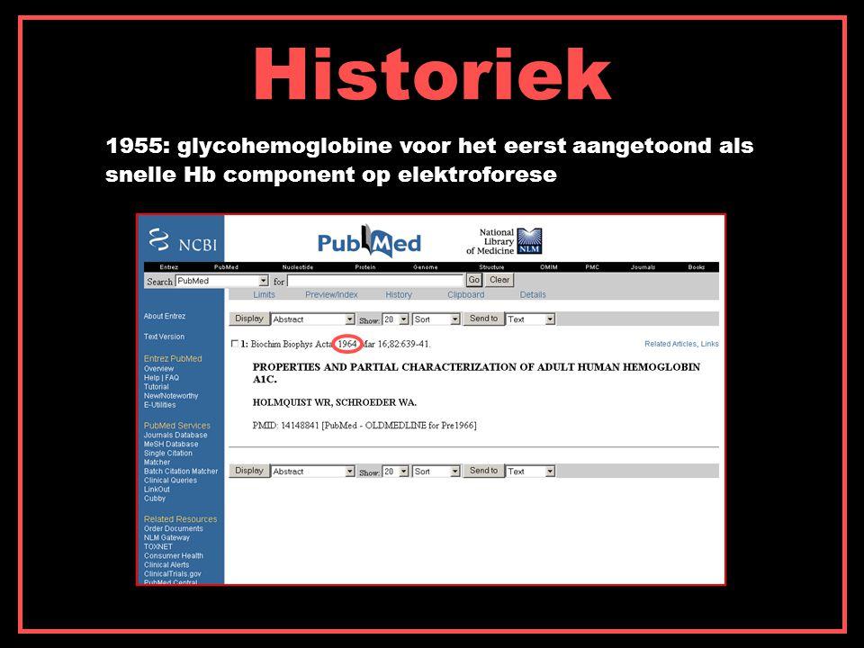 Historiek 1955: glycohemoglobine voor het eerst aangetoond als snelle Hb component op elektroforese
