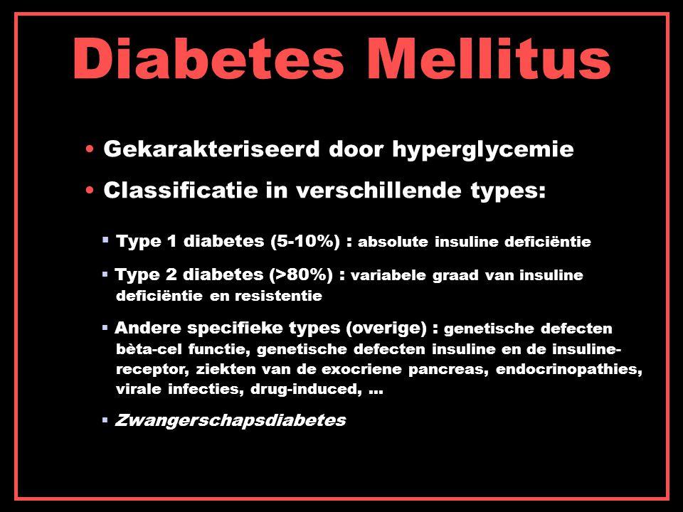 Diabetes Mellitus Gekarakteriseerd door hyperglycemie Classificatie in verschillende types:  Type 1 diabetes (5-10%) : absolute insuline deficiëntie  Type 2 diabetes (>80%) : variabele graad van insuline deficiëntie en resistentie  Andere specifieke types (overige) : genetische defecten bèta-cel functie, genetische defecten insuline en de insuline- receptor, ziekten van de exocriene pancreas, endocrinopathies, virale infecties, drug-induced, …  Zwangerschapsdiabetes