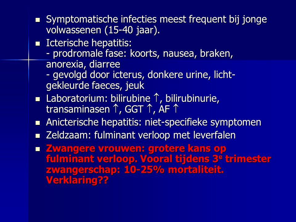 Symptomatische infecties meest frequent bij jonge volwassenen (15-40 jaar).
