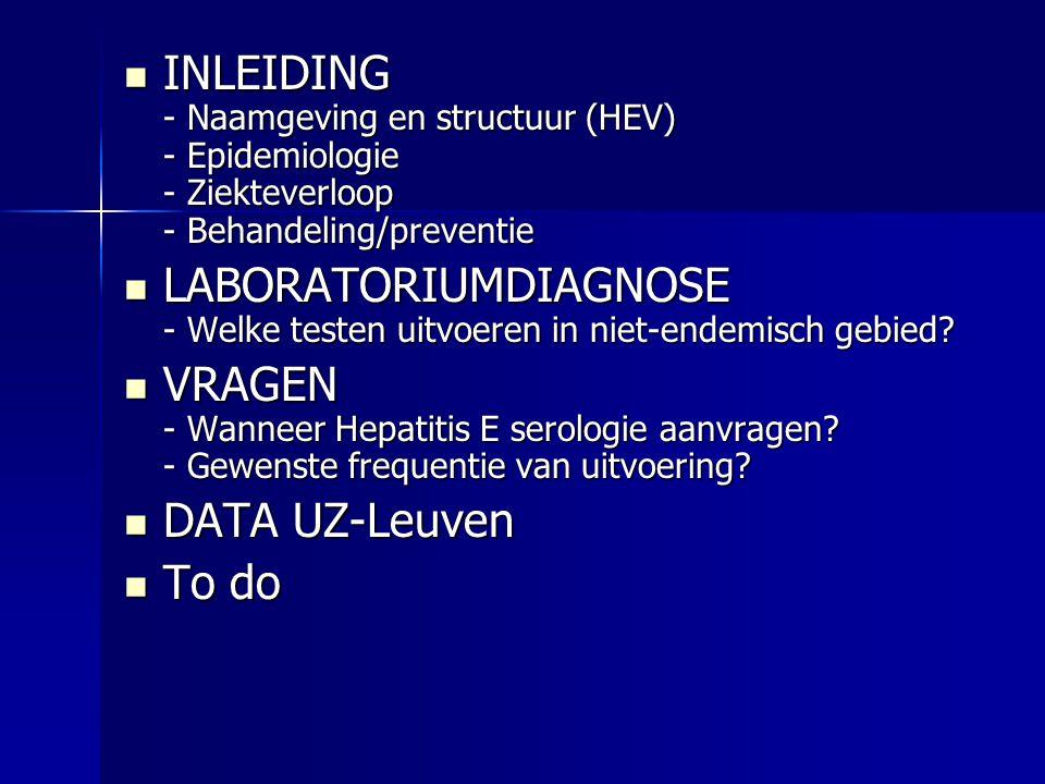 INLEIDING - Naamgeving en structuur (HEV) - Epidemiologie - Ziekteverloop - Behandeling/preventie INLEIDING - Naamgeving en structuur (HEV) - Epidemiologie - Ziekteverloop - Behandeling/preventie LABORATORIUMDIAGNOSE - Welke testen uitvoeren in niet-endemisch gebied.