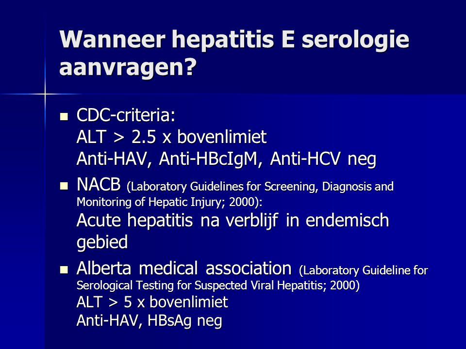 Wanneer hepatitis E serologie aanvragen.