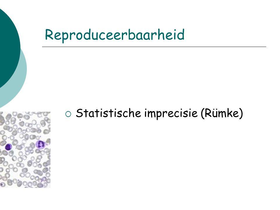 Reproduceerbaarheid  Statistische imprecisie (Rümke)