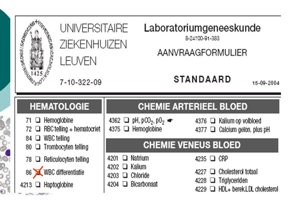 Aanvraag WBC differentiatie (bon 3012) Aanvraag cytologisch onderzoek perifeer bloed (bon 3001) Sysmex XE-2100 Staal voldoet aan validatieregels Staal voldoet niet aan validatieregels Automatische validatie en automatische formule Automatisch uitstrijkje Manuele differentiatie en beoordeling morfologie (MLT), manuele validatie door MLT Klinisch Bioloog