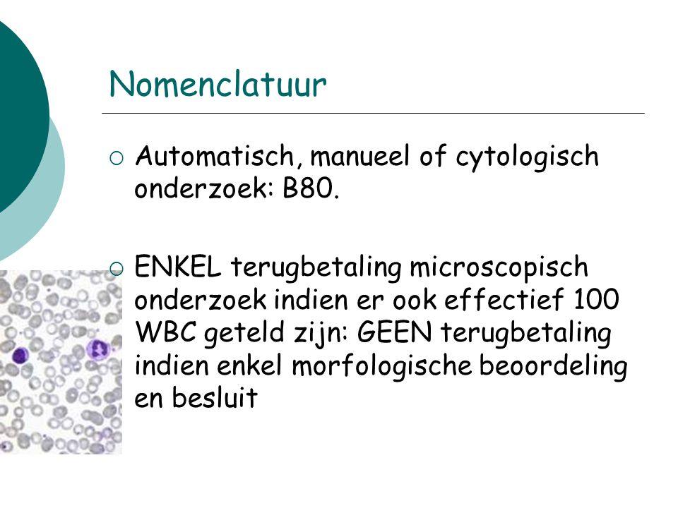 Nomenclatuur  Automatisch, manueel of cytologisch onderzoek: B80.  ENKEL terugbetaling microscopisch onderzoek indien er ook effectief 100 WBC getel