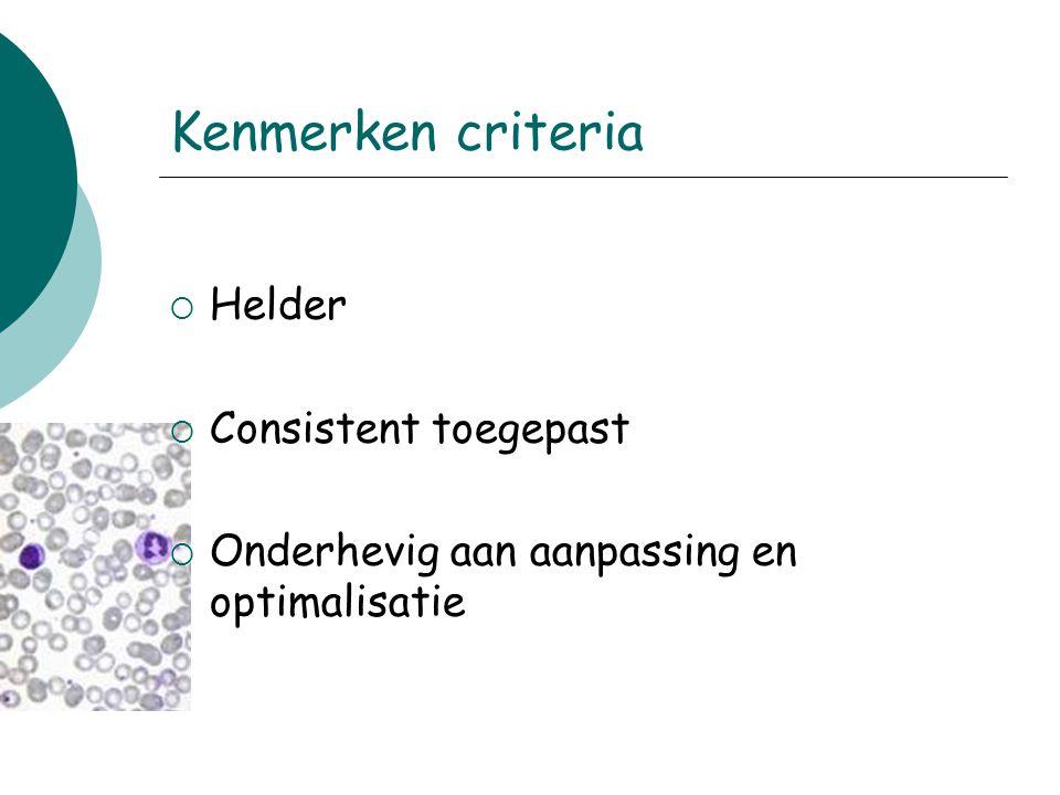Kenmerken criteria  Helder  Consistent toegepast  Onderhevig aan aanpassing en optimalisatie