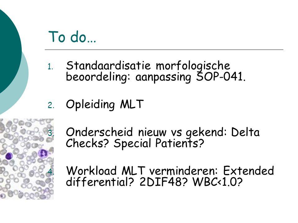 To do… 1. Standaardisatie morfologische beoordeling: aanpassing SOP-041. 2. Opleiding MLT 3. Onderscheid nieuw vs gekend: Delta Checks? Special Patien