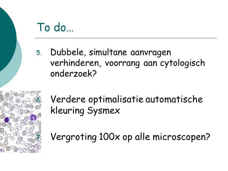To do… 5. Dubbele, simultane aanvragen verhinderen, voorrang aan cytologisch onderzoek? 6. Verdere optimalisatie automatische kleuring Sysmex 7. Vergr