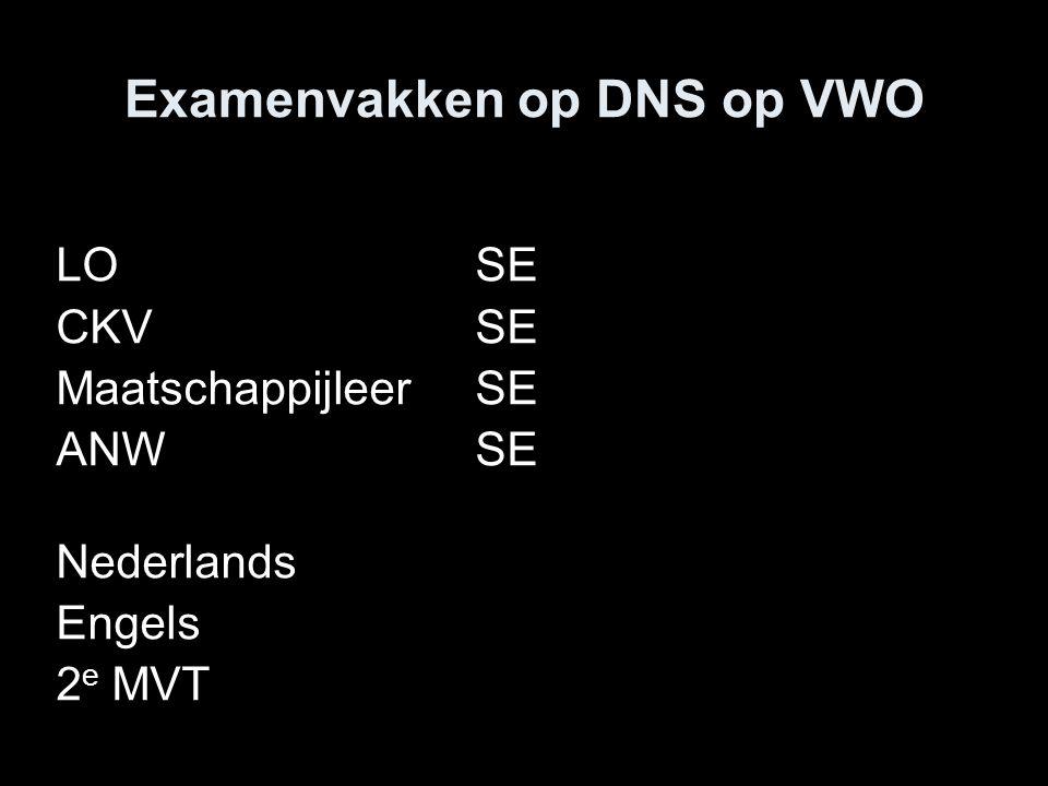 Examenvakken op DNS op VWO LOSE CKVSE Maatschappijleer SE ANWSE Nederlands Engels 2 e MVT