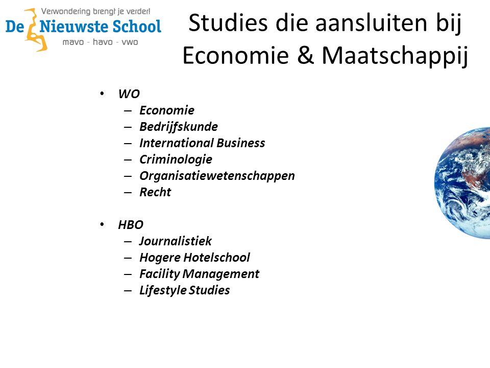 Studies die aansluiten bij Economie & Maatschappij WO – Economie – Bedrijfskunde – International Business – Criminologie – Organisatiewetenschappen –