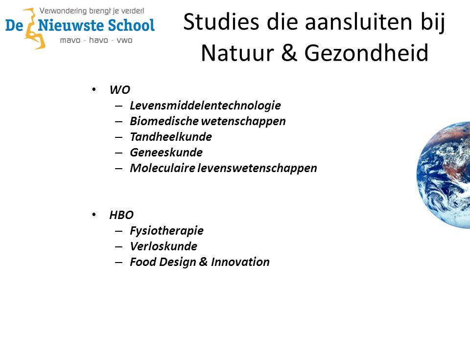 Studies die aansluiten bij Natuur & Gezondheid WO – Levensmiddelentechnologie – Biomedische wetenschappen – Tandheelkunde – Geneeskunde – Moleculaire