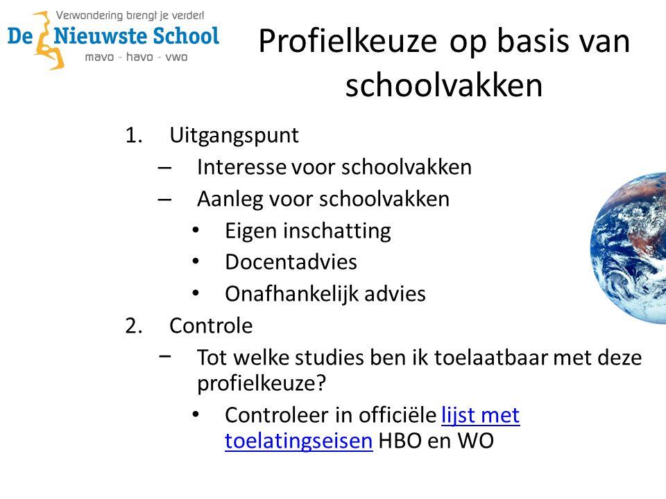 1.Uitgangspunt – Interesse voor schoolvakken – Aanleg voor schoolvakken Eigen inschatting Docentadvies Onafhankelijk advies 2.Controle − Tot welke stu