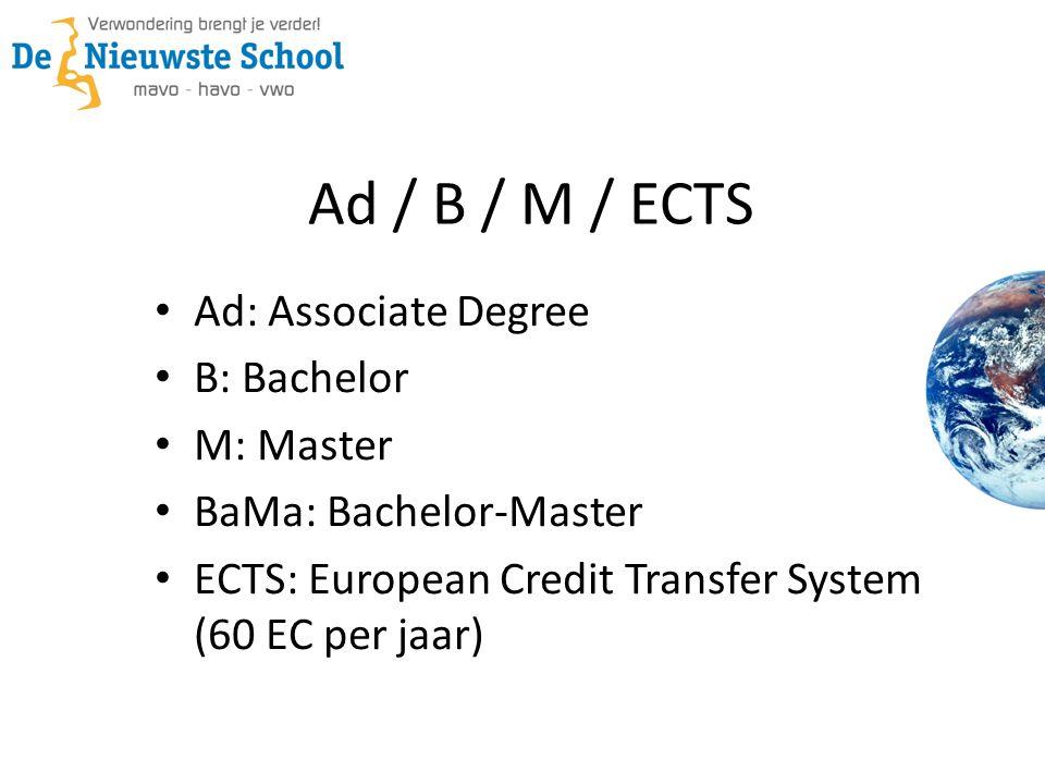 Ad / B / M / ECTS Ad: Associate Degree B: Bachelor M: Master BaMa: Bachelor-Master ECTS: European Credit Transfer System (60 EC per jaar)