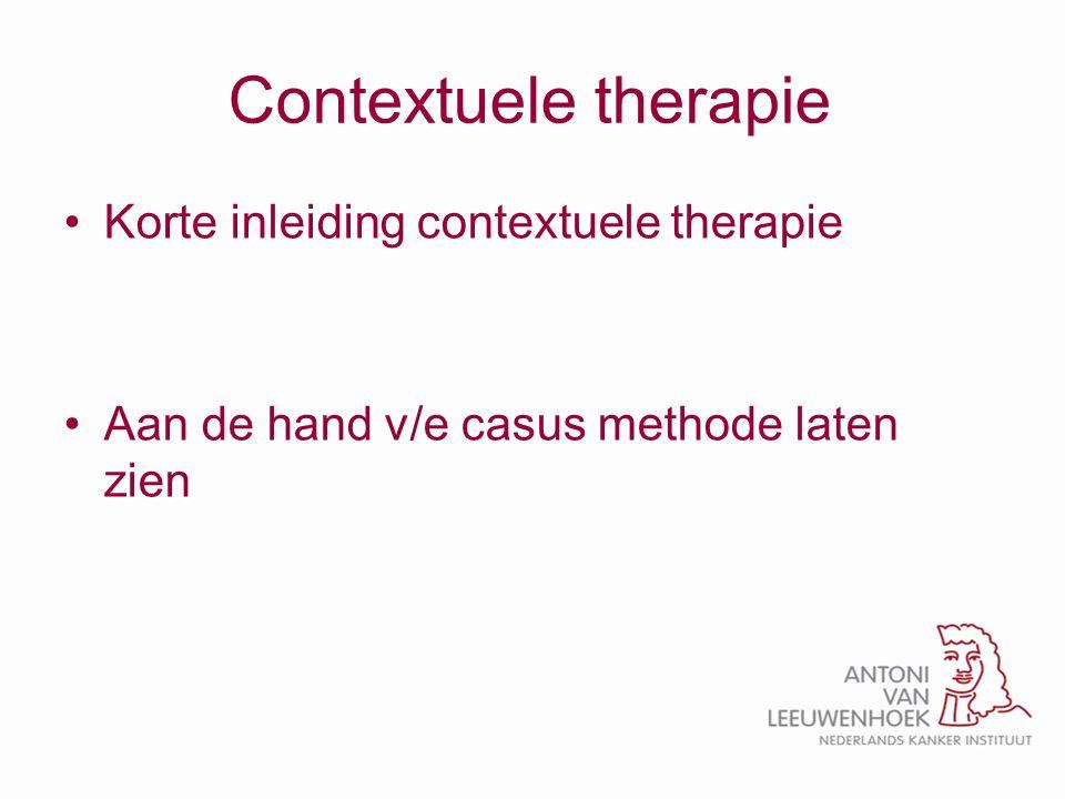 Contextuele therapie Korte inleiding contextuele therapie Aan de hand v/e casus methode laten zien