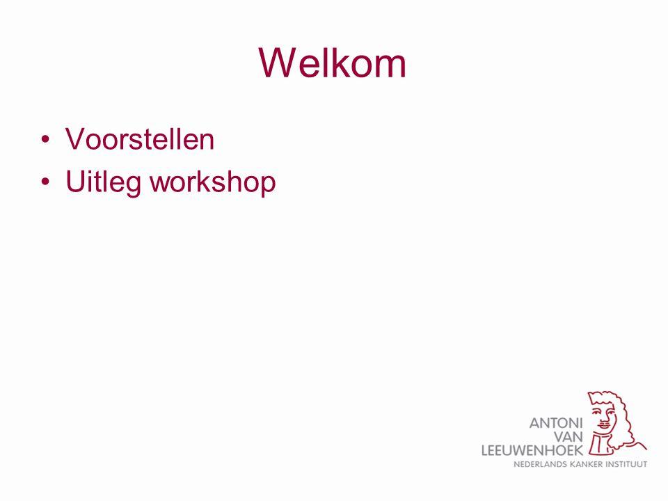 Welkom Voorstellen Uitleg workshop