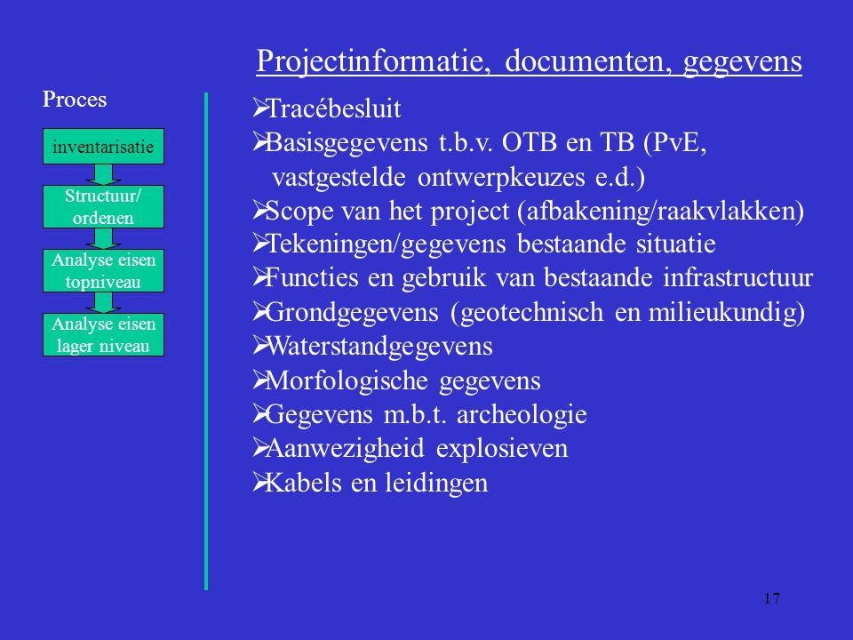 17 Proces inventarisatie Structuur/ ordenen Analyse eisen topniveau Analyse eisen lager niveau Projectinformatie, documenten, gegevens  Tracébesluit