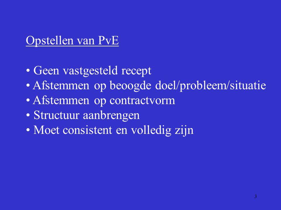 3 Opstellen van PvE Geen vastgesteld recept Afstemmen op beoogde doel/probleem/situatie Afstemmen op contractvorm Structuur aanbrengen Moet consistent