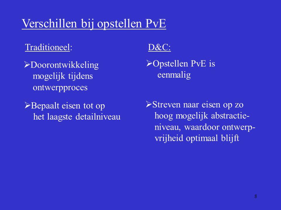 8 Verschillen bij opstellen PvE  Doorontwikkeling mogelijk tijdens ontwerpproces  Opstellen PvE is eenmalig Traditioneel:D&C:  Bepaalt eisen tot op