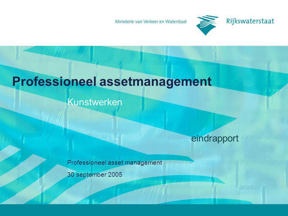 30 september 2005 Professioneel assetmanagement2 Naar professioneel assetmanagement Assetmanagement geeft invulling aan het netwerkmanagement van Rijkswaterstaat.