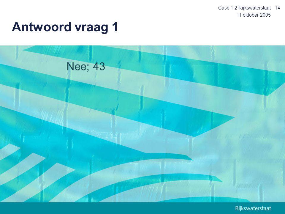 11 oktober 2005 Case 1.2 Rijkswaterstaat14 Antwoord vraag 1 Nee; 43