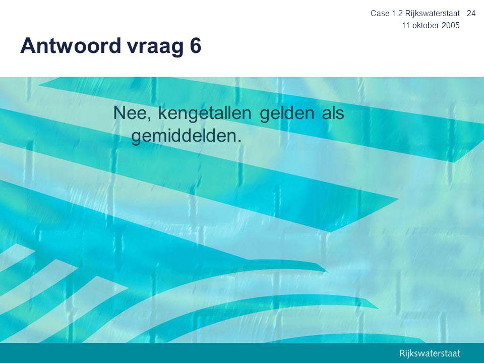 11 oktober 2005 Case 1.2 Rijkswaterstaat24 Antwoord vraag 6 Nee, kengetallen gelden als gemiddelden.
