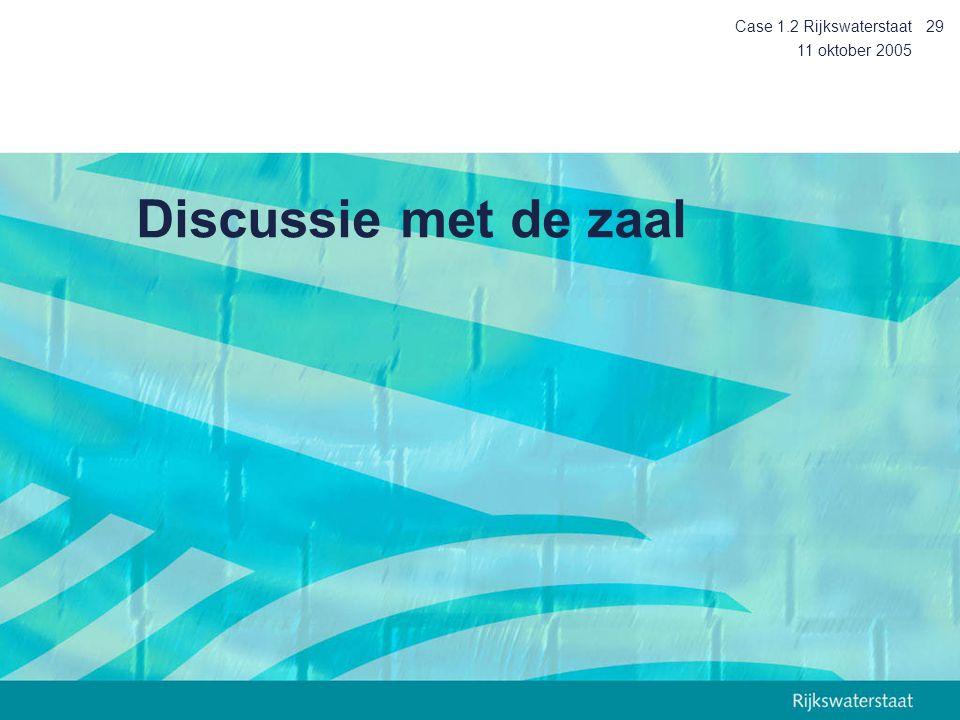 11 oktober 2005 Case 1.2 Rijkswaterstaat29 Discussie met de zaal