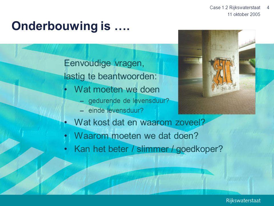 11 oktober 2005 Case 1.2 Rijkswaterstaat4 Onderbouwing is ….