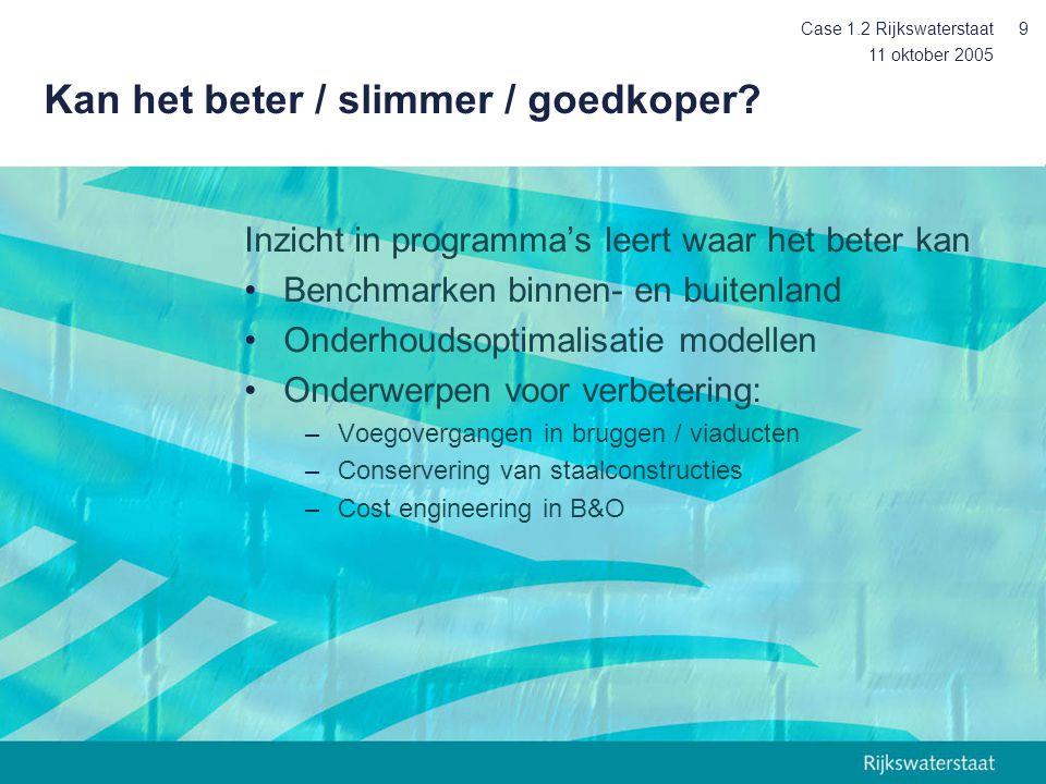 11 oktober 2005 Case 1.2 Rijkswaterstaat10 Naar professioneel assetmanagement Risicobenadering –Veiligheid –beschikbaarheid –Kosten De gebruiker centraal Integratie bedrijfsprocessen –Middelen –Informatie –Mensen
