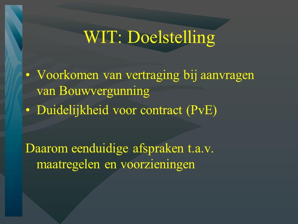 WIT: Doelstelling Voorkomen van vertraging bij aanvragen van Bouwvergunning Duidelijkheid voor contract (PvE) Daarom eenduidige afspraken t.a.v.