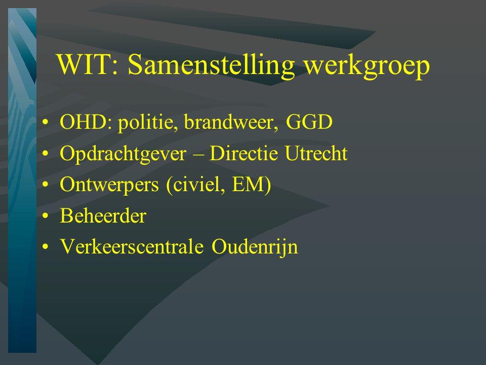 WIT: Samenstelling werkgroep OHD: politie, brandweer, GGD Opdrachtgever – Directie Utrecht Ontwerpers (civiel, EM) Beheerder Verkeerscentrale Oudenrijn