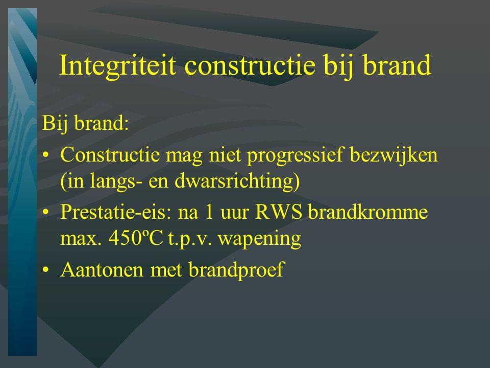 Integriteit constructie bij brand Bij brand: Constructie mag niet progressief bezwijken (in langs- en dwarsrichting) Prestatie-eis: na 1 uur RWS brandkromme max.