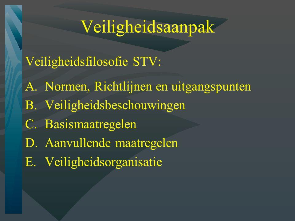 Veiligheidsaanpak Veiligheidsfilosofie STV: A.Normen, Richtlijnen en uitgangspunten B.Veiligheidsbeschouwingen C.Basismaatregelen D.Aanvullende maatregelen E.Veiligheidsorganisatie