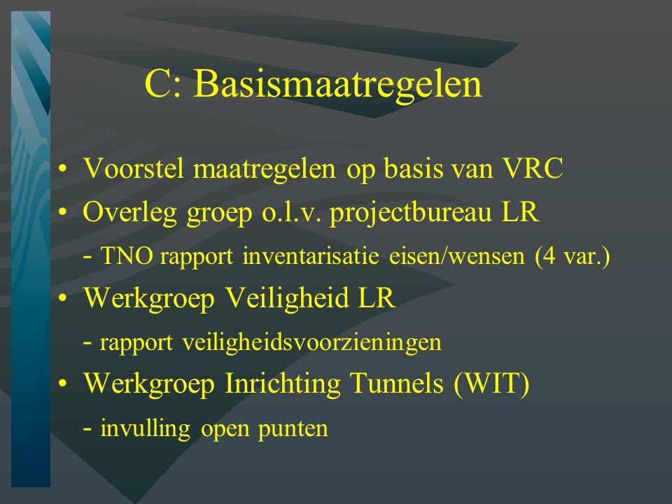 D: Aanvullende maatregelen Vluchtstroken Voorkomen filevorming in tunnel Automatische blusvoorziening