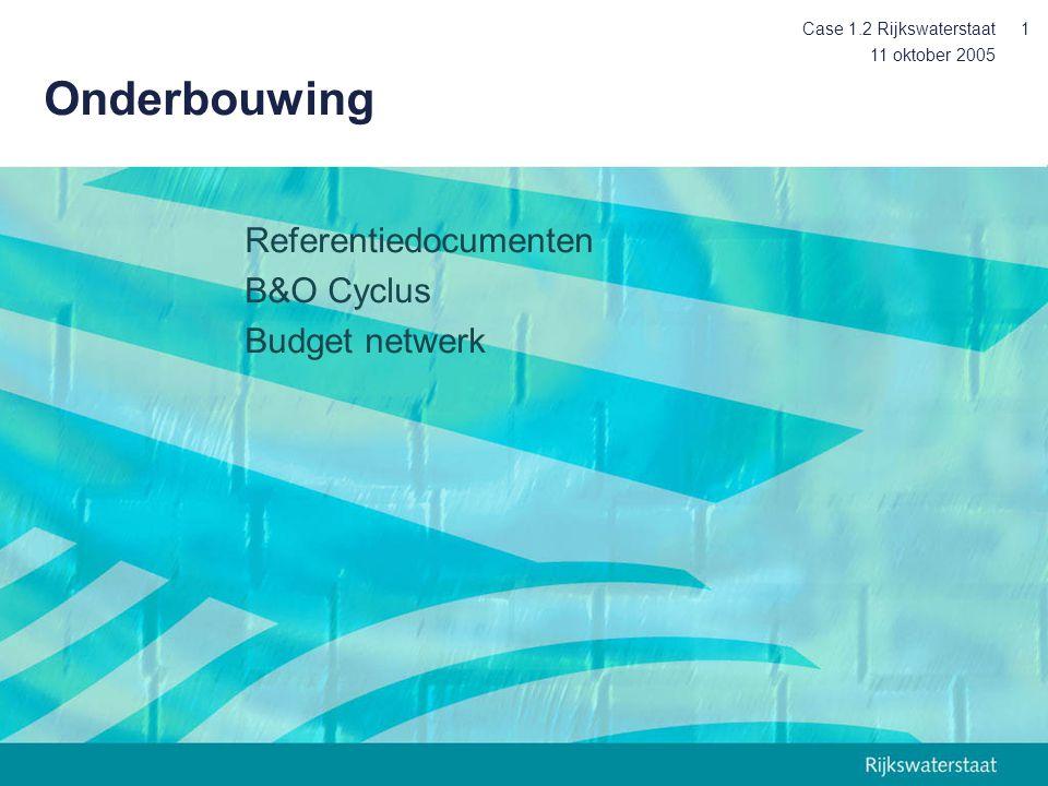 11 oktober 2005 Case 1.2 Rijkswaterstaat1 Onderbouwing Referentiedocumenten B&O Cyclus Budget netwerk