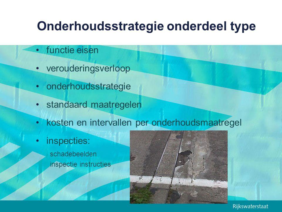 Onderhoudsstrategie onderdeel type functie eisen verouderingsverloop onderhoudsstrategie standaard maatregelen kosten en intervallen per onderhoudsmaatregel inspecties: schadebeelden inspectie instructies