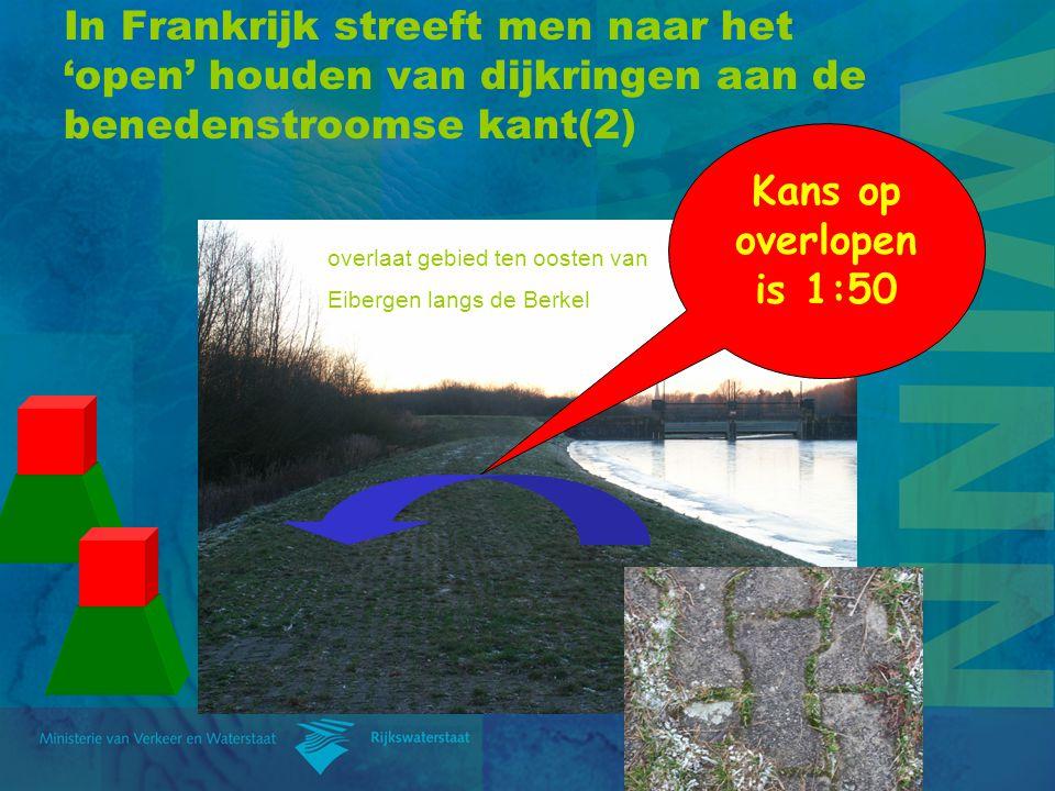 In Frankrijk streeft men naar het 'open' houden van dijkringen aan de benedenstroomse kant(2) Kans op overlopen is 1:50 overlaat gebied ten oosten van Eibergen langs de Berkel