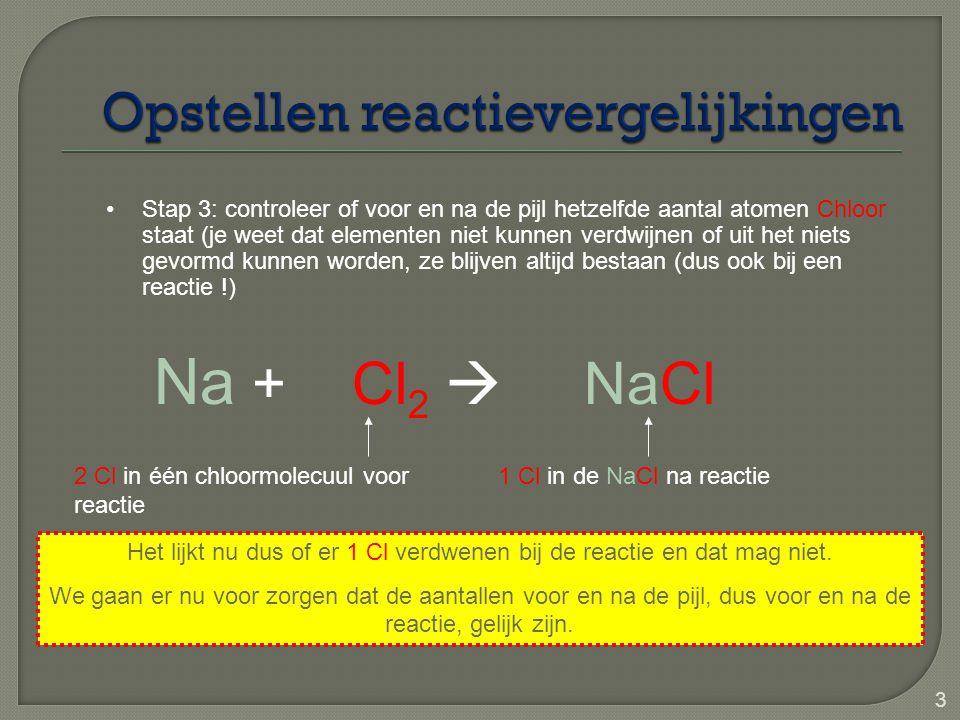 3 Na + Cl 2  NaCl Stap 3: controleer of voor en na de pijl hetzelfde aantal atomen Chloor staat (je weet dat elementen niet kunnen verdwijnen of uit