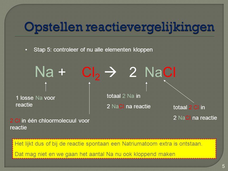 6 Na + Cl 2  2 NaCl Stap 6: als een elementenaantal niet klopt zorg er dan voor dat deze weer kloppend wordt 2 Cl in één chloormolecuul voor reactie totaal 2 Na in 2 NaCl na reactie 1 losse Na voor reactie totaal 2 Cl in 2 NaCl na reactie 2  2 losse Na voor reactie  * 2